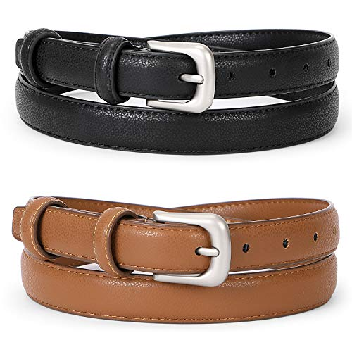 WERFORU Women Leather Belt Waist Skinny Dress Belts Solid Pin Buckle Belt for Jeans Pants,Black+Brown,Pants Size 24-29 inches