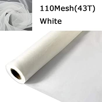 INTBUYING 3 Yards 110 Mesh 63Inches 43T 1.65m Width Silk Screen Printing 3 Yards 110 mesh