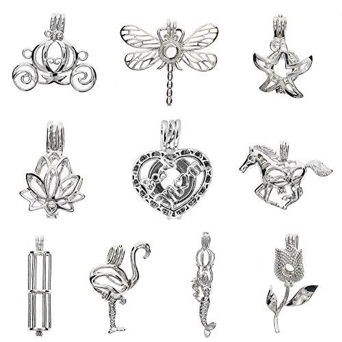 Colgantes de Repino chapados en oro blanco al por mayor para fabricación de joyas (10 unidades)