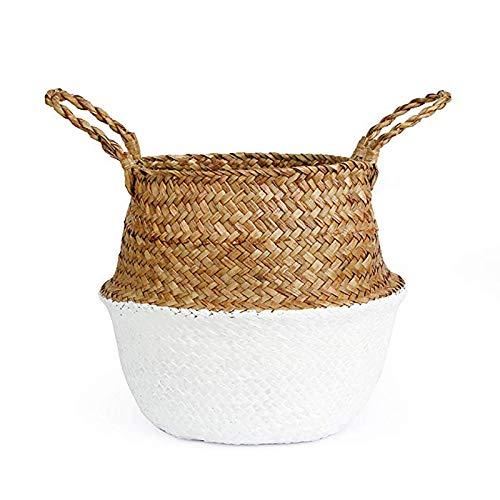 xuyang Gardening supplies Small Size Straw Woven Spray Basket Basket Nordic Storage Environmentally Friendly Foldable Storage Basket Home Decoration (Color : White, Size : 22cmX20cm)