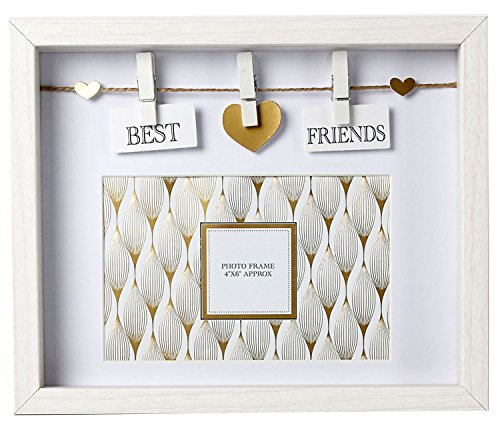 Carousel Home Best Friends - Marco de fotos (madera), color blanco y dorado
