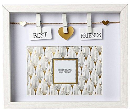 """Carousel Home, """"Best Friends""""-Kasten-Fotorahmen, Holz, weiß und goldfarben"""
