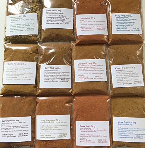 Curry Set 12 verschiedene Curries, Madras Vindaloo Jaipur Anapurna usw 12 x 30g