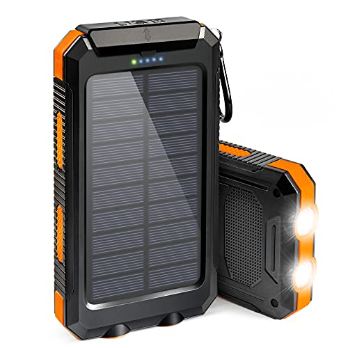 Solar Phone Charger 20000mAh, Suscell Portable Solar Power Bank for Cell Phone Camping External Backup Battery Pack Charger, with Flashlight, IPX4 Splashproof and Shockproof for Outdoor Activities
