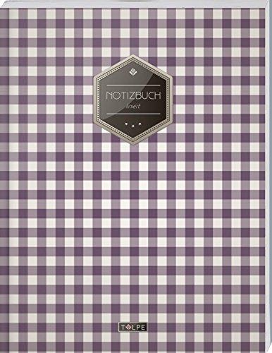 """TULPE Liniertes Notizbuch A4 """"C069 Picknick"""" (140+ Seiten, Vintage Softcover, Doppelrand, Seitenzahlen, Register - Dickes Notizheft, Deutschheft, Schreibheft, Schulheft, Tagebuch, Lineatur 27)"""