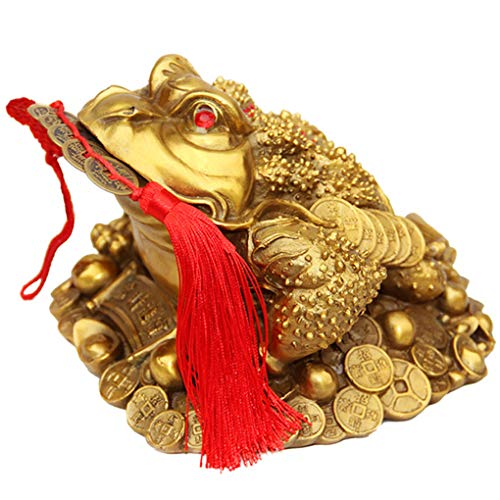 Brass Feng Shui Money Frog Three Legged Wealth Traditional Frog Money Toad Statue with Set of 5 Lucky Charm Ancient Coins on Red String Home Car Fengshui Decor (B1 Money Frog)