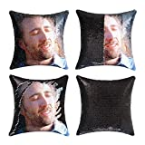 cygnus Nicolas Cage Sequin Pillow Cover Magic Funny Gifts Mermaid Reversible Pillowcase That Color Changes Home Decor Throw Pillow Case Sofa Cushion Cover (Black Sequin)