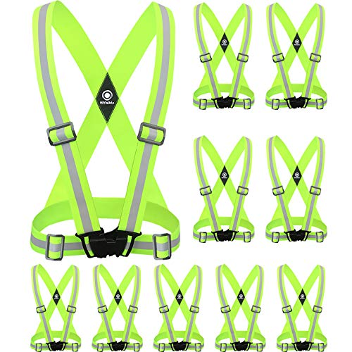 HiVisible Reflective Vest with Reflective Bands - Reflective Running Gear for Men and Women for Night Running, Biking, Walking. Reflective Running Vest, Safety Straps, Reflector Strips (Green Vest)