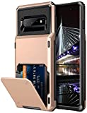 Vofolen Case for Galaxy S10 Plus Case Wallet [4 Card Pocket] Card Holder Slot Anti-scratch Dual Layer Protective Bumper Tough Rubber Armor Hard Shell Cover Case for Samsung Galaxy S10 Plus (Rose Gold)