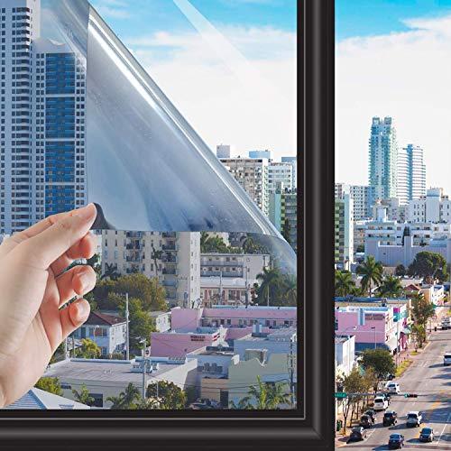 RMane Fensterfolie Selbstklebend Spiegelfolie Fenster Wärmeisolierung Sichtschutz Dachfenster Folie für Haus Wohnzimmer Schlafzimmer Badzimmer Offices und Geschäfte Büro (Silber, 90 x 400 cm)