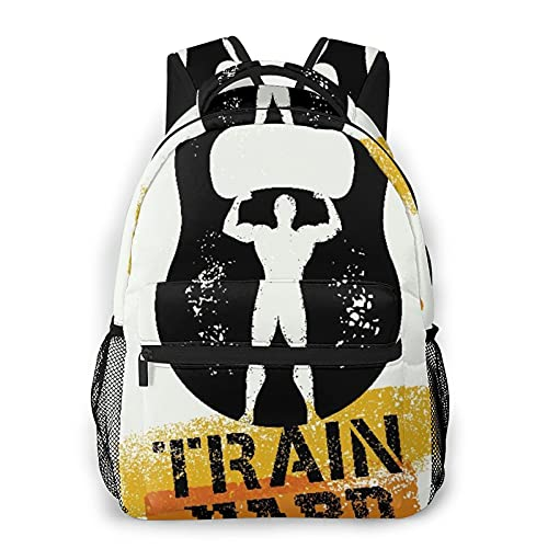 EUlemon Travel Laptop Backpack,Fitness Aged Kettlebell Athlete,Large Business Water Resistant Anti Theft Computer Daypack Slim Durable College School Bookbag