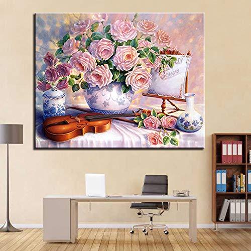 Geen Frame Schilderen Door Getallen Diy Kleurplaten Roze Hibiscus Bloemen En Viool Op Canvas Huis Decoratieve Olie Foto Voor Slaapkamer Muur Artwork 40X60Cm