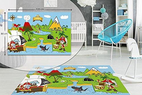 Alfombra de suelo para dormitorio infantil con diseño de pirata, antideslizante, lavable, 80 x 120 cm