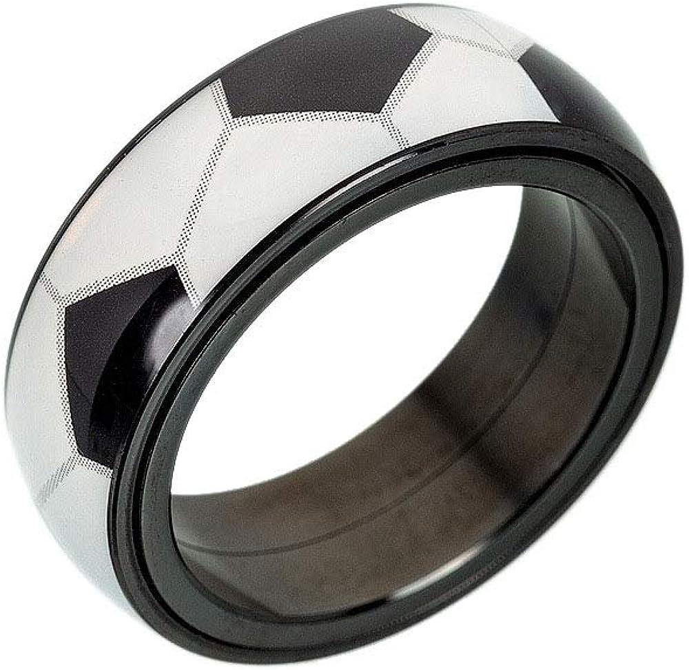 OAKKY Men Women Stainless Steel 8mm Simple Rotatable Sports Baseball Soccer Pattern Fidget Ring