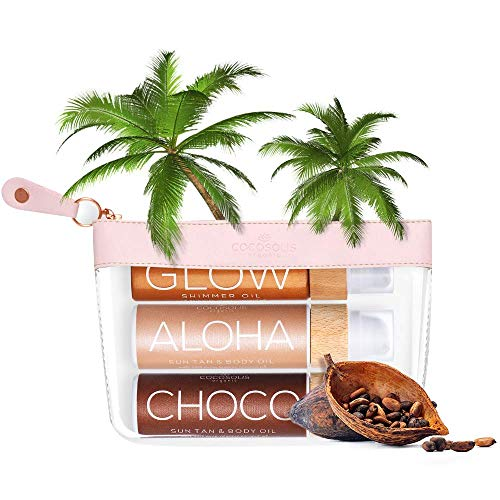 Paquet COCOSOLIS Bio Huile bronzante – Choco, Aloha, and Glow– 2 x accelerateur de bronzage and 1 x Bio oil éclat chatoyant