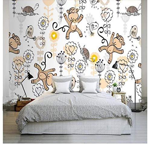 Shuangklei aangepaste kinderbehang, cartoon bos, fotobehang, kinderkamer, bos, vogels, bloemen behang, voor woonkamer en wooncultuur 150 x 120 cm.