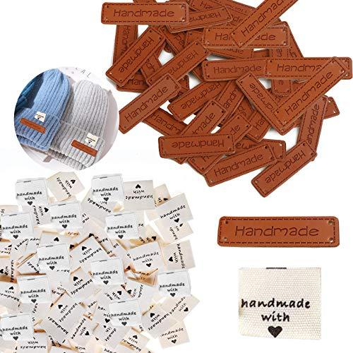 50 etiquetas de PU hechas a mano + 50 etiquetas de tela hechas a mano con amor Etiquetas textiles hechas a mano, etiquetas de etiquetas hechas a mano, etiquetas de tela, etiquetas de ropa