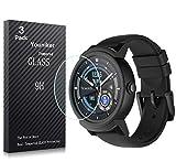 Youniker Lot de 3protections d'écran en verre trempé de dureté 9H et de 0,3mm d'épaisseur pour smartwatch Ticwatch E, Ticwatch S, Anti-rayure Anti-traces de doigts Sans bulles