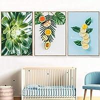 北欧スタイルの家の装飾新鮮な果樹キャンバス絵画レモンオレンジ多肉植物ポスター壁の写真リビングルーム70x100cm3Pcsフレームレス