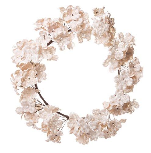 Red Co. Handmade Decorative Artificial Wreath, Cream Burlap Hydrangeas, Holiday Christmas Wall Décor, Small, 8-inch