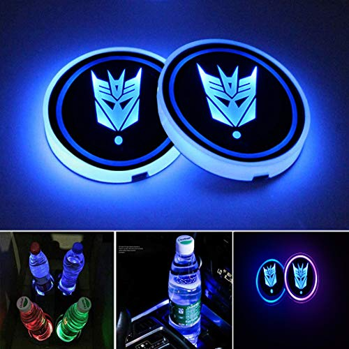 STORE-OK 2PCS Universal LED Car Cup Holder Lights, 7 Colors Changing USB Charging Mat Luminescent Cup Pad,LED Car Interior Atmosphere Light (Decepticons)