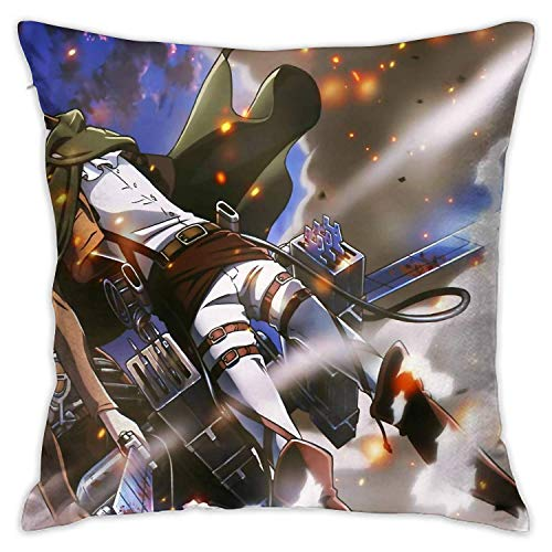 Medlin Eren and Levi Attack On Titan Pillowcase 18 x 18 InchPillow Slip Cover with Zipper Closure Decorative Girls Gift for family
