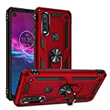 Motorola One Action Case Cover,Moto P40 Power Case,Rebex Tough Heavy Protective 360 Metal Rotating Ring Kickstand Holder Grip Built-in Magnetic Metal Plate Armor Heavy Duty Shockproof (Red)