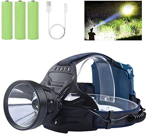 Professional LED Rechargeable Headlamps, Brightest 10000 Lumens KC06 Headlamps Flashlights for Adults with 4 Light Modes, IPX5 Waterproof, Warn Light, Adjustable Headlamps for Hunting/Running/Outdoors