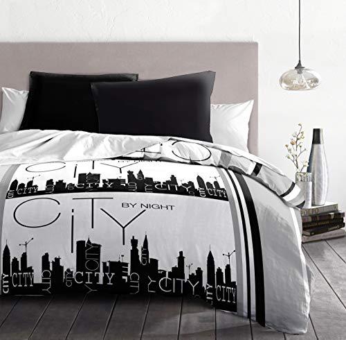 Home Linge Passion City by Night Set de 3 Parures de Couette, Microfibre, Gris-Noir-Blanc, 220x240 cm