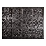 FASÄDE Traditional Style/Pattern 1 Decorative Vinyl Backsplash Panel in Smoked Pewter (One 18' x...