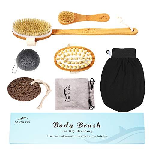 Sharplace Brosse de Massage avec Gants de Gommage, éponge de Konjac, Pierre Ponce pour Le Shampooing et Le Massage Exfoliant de La Peau