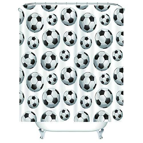 Aeici Duschvorhang Lang Bad Vorhang Anti-Schimmel mit Ring,Fußball Duschvorhang 165x180 cm Duschvorhang für Vorhangschiene Schwarz Weiss