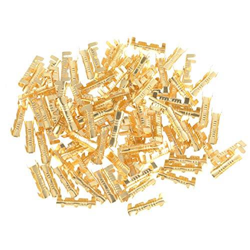 Stoßverbinder, 100 Stücke Messing Drahtklemmen Crimpverbinder Elektrische Draht Crimp Connector 0,5-1,5mm Kabelverbinder