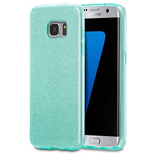 United Case 3 in 1 Caso per Samsung Galaxy S7 Edge in Bling Glitter | Verde | Cover in