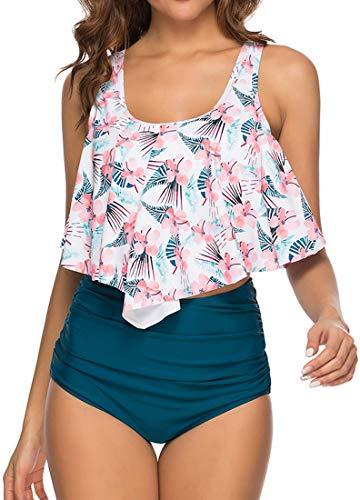 PANOZON Traje de Baño Dos Piezas Mujer Bañador Conjunto de Bikinis Volante Tankinis Cintura Alta Playa Verano (M, Flor Azul)