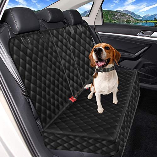 3-in-1 Dog Car Seat Cover, Nonslip Beach Car Seat Protector for Dog with 1 Elastic Dog Seat Belt and 1 Pet Grooming Glove, Durable Waterproof Real Back Seat Cover Hammock for Cars, Trucks and SUVs