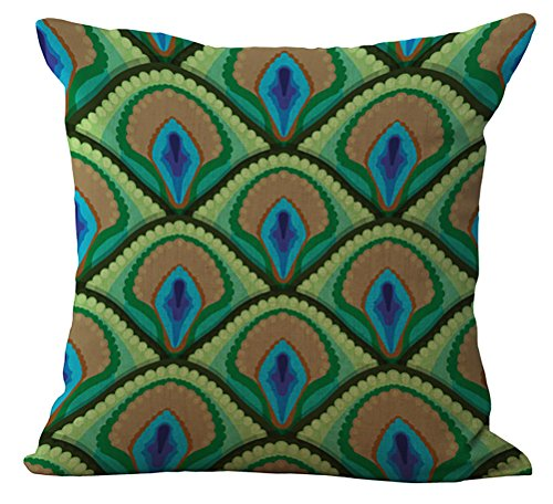 Green and Blue Peacock Print Throw Pillow Covers