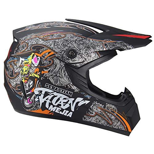 DLPAC Motocross Adult Helmet, DOT Certified Off-Road Mountain Bike Motorbike Helmet for Men/Women Scooter ATV Full Face Helmet with Goggles Gloves
