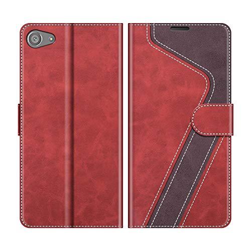 MOBESV Handyhülle für Sony Xperia Z5 Compact Hülle Leder, Sony Xperia Z5 Compact Klapphülle Handytasche Case für Sony Xperia Z5 Compact Handy Hüllen, Modisch Rot