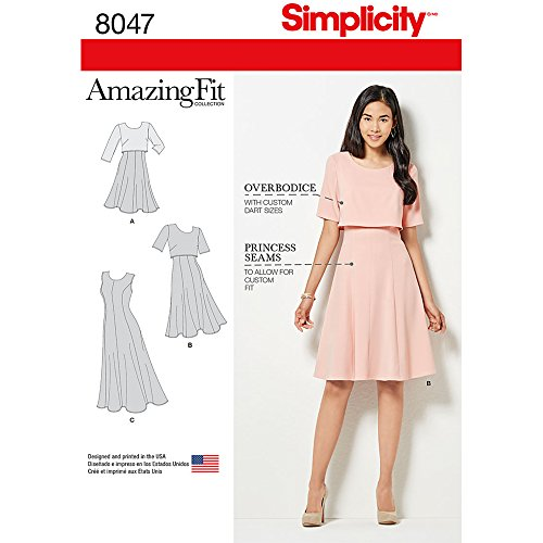Simplicity 8047 Schnittmuster für Damen, Casual, Cocktailkleid, Größen 34-42