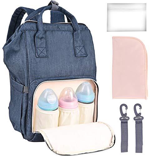 Baby Wickelrucksack Nabance Wickeltasche mit Wickelunterlage 2 Kinderwagengurten Große Kapazität Babyrucksack Reiserucksack Multifunktional Babytaschen Baby Wickeltasche für Mama und Papa