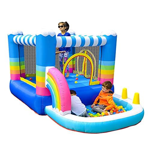 AIYIFU Castillo Hinchable Up Cama Elástica para Interior y Exterior Centro Juegos Hinchable para Parque Patio Jardín Juego Niño de 3 a 10 Años,