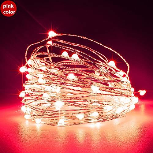 Zilverdraad en koperdraad lichtsnoer, 5 M 50 lichtjes 10 M 100 lichtjes USB-8 functie met afstandsbediening Kerstverlichting lichtslingers lichtslinger-5 M 50 lichtjes roze