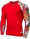 Lafroi - Camiseta térmica de licra, de compresión, para hombre, de manga larga, con protección UPF 50+, ajustada, modelo CLYYB, Hombre, GB-CLYYB_Bt-C-Asym Red Fire-SM, Fuego rojo asimétrico, S