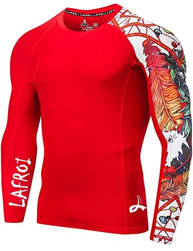 Lafroi - Camiseta térmica de licra, de compresión, para hombre, de manga larga, con protección UPF 50+, ajustada, modelo CLYYB, Hombre, GB-CLYYB_Bt-C-Asym Red Fire-XXXL, Fuego rojo asimétrico, 3XL