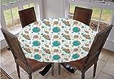 Mantel ajustable de poliéster con bordes elásticos, para mesas ovaladas/Olbong de 122,9 x 172,7 cm, para comedor, cocina, fiesta, color verde