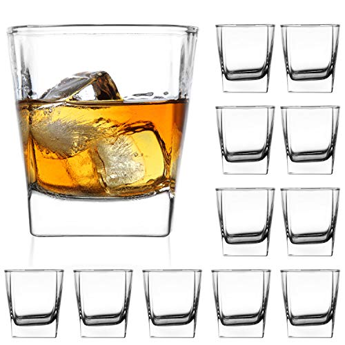 Heavy Base Whisky Glasses 8 ounce Drinking Glasses SetQAPPDA Rock Glasses Shot Glasses For liqueurDouble Side Cordial GlassesTequila Cups Small Glass Cups set of 12…