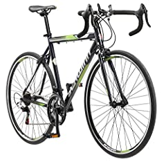 Lightweight Schwinn aluminum road frame and rigid fork supply quick, responsive riding 14-speed Shimano A050 shifters and a Shimano rear derailleur for precise, quick gear changes Alloy caliper brakes provide crisp all-condition stopping Light and st...