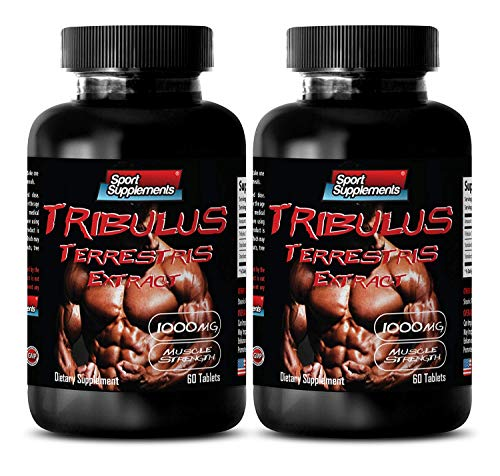Testosterone for Men Sex Long and Strong - TRIBULUS TERRESTRIS Extract 1000MG - Muscle Strength - Tribulus Testosterone Boost - 2 Bottles 120 Tablets