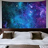 Galaxy Tapestry Blue Starry Sky Tapestry Universe Space Tapestry Wall Hanging Psychedelic Tapestry Mysterious Nebula Stars Wall Tapestry for Living Room Dorm
